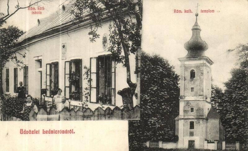 Pohľadnica z Lednických Rovní (z čias Rakúsko-Uhorska) a na nej rímskokatolícka škola a starý renesančný kostol v parku
