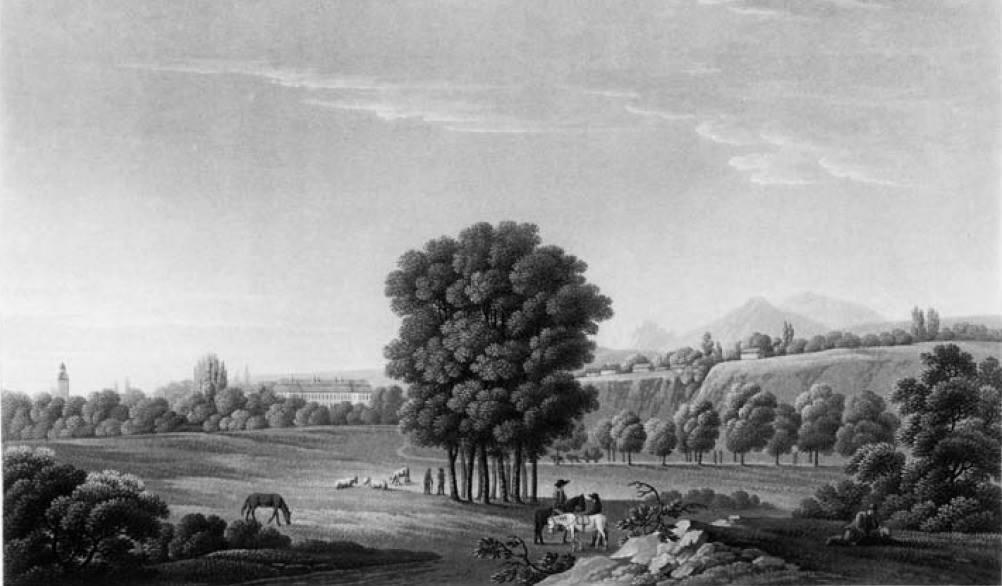 Pohľad na Lednické Rovne a historický park (smerom zo severu) v roku 1810