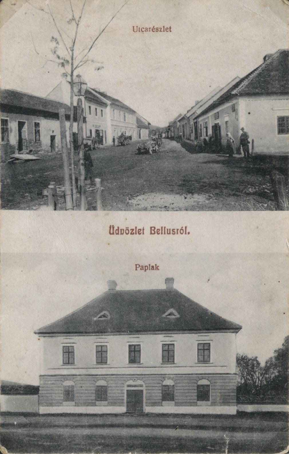 Dnešná Štefánikova ulica a fara v Beluši na zač. 20. storočia
