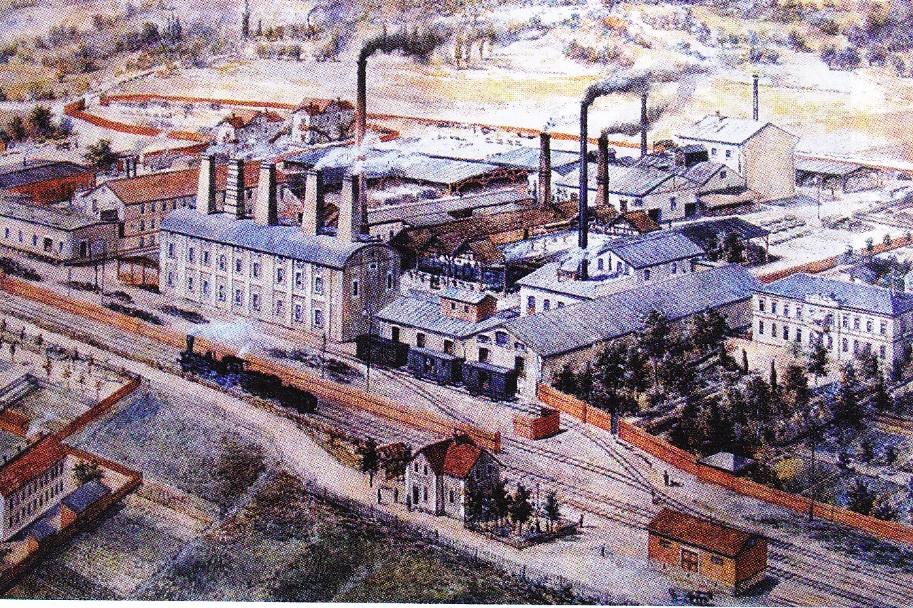 Cementáreň Ladce v roku 1900 - založená v r. 1889 pod názvom