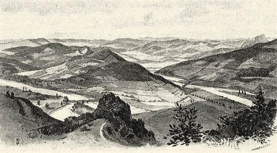 Kreslená scenéria meandru Váhu z Hradiska zo začiatku 20. storočia. Zaujímavé je smerovanie pôvodnej železnice medzi PU a PB: na mieste dnešného priehradného telesa nájdete železničný most, rovnako aj pri Milochove..