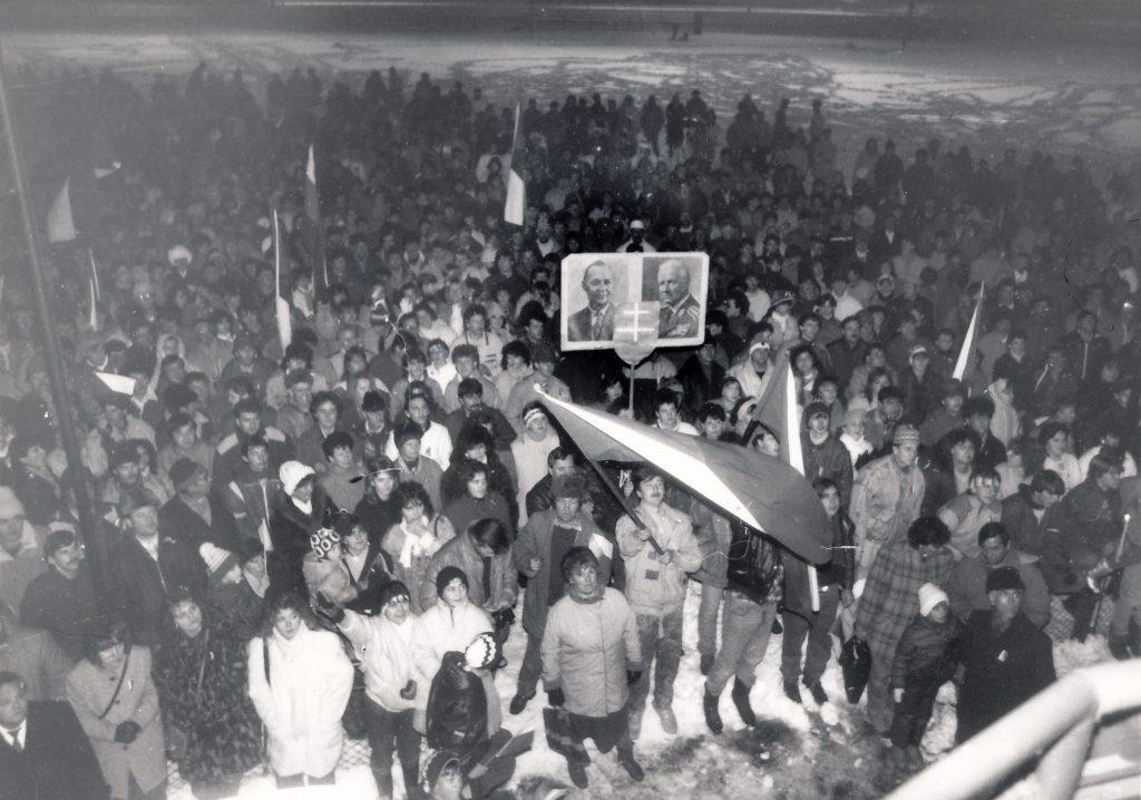 2 VPN Púchov, 1989.11.27 na futbalovom štadióne, foto Štefan Filiač