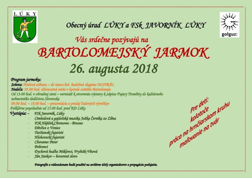 BARTOLOMEJSKÝ JARMOK a HODY 2018 v Lúkach @ Lúky | Trenčiansky kraj | Slovensko