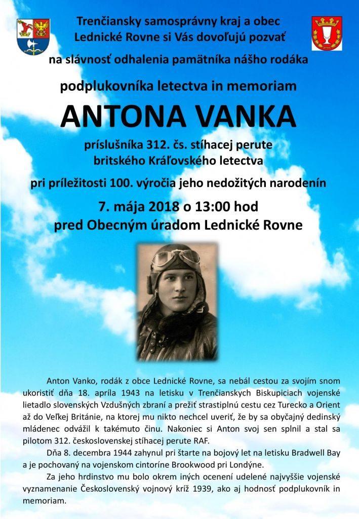 ODHALENIE PAMÄTNÍKA LETCOVI ANTONOVI VANKOVI - Lednické Rovne @ Lednické Rovne | Trenčiansky kraj | Slovensko